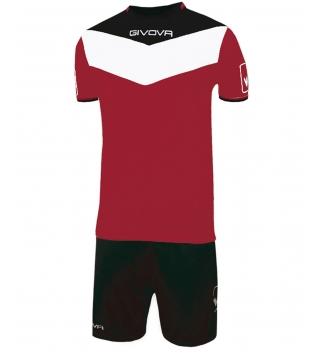 Kit Calcio GIVOVA Campo Completino Football Sport Sportivo Uomo Bambino GIOSAL-Granata/Nero-4XS