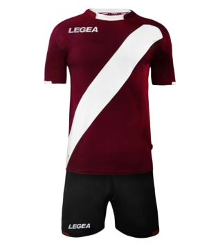 Kit Completo Calcio Uomo LEGEA Lima Abbigliamento Sportivo Sport GIOSAL-Granata-Bianco-L
