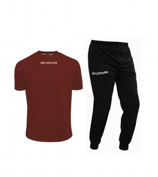 Outfit Givova Uomo Donna Bambino Completo Tuta T-Shirt Pantalone Granata Nero Givova One Unisex GIOSAL