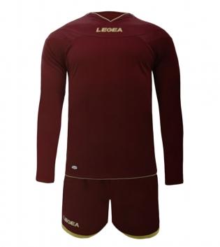 Kit LEGEA Danzica Uomo Calcio Sport Completino Sportivo Calcetto Squadra Uomo Bambino GIOSAL-Granata-3XS