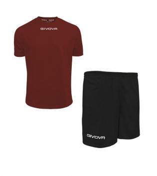 Outfit Givova Completo Pantaloncini T-Shirt Givova One Granata Nero Unisex Uomo Donna Bambino GIOSAL