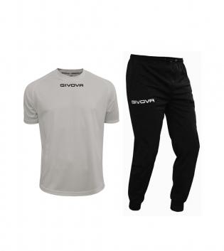 Outfit Givova Uomo Donna Bambino Completo Tuta T-Shirt Grigio Chiaro Nero Pantalone Givova One Unisex GIOSAL