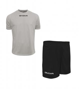 Outfit Givova Completo Pantaloncini T-Shirt Givova One Grigio Chiaro Nero Uomo Donna Bambino GIOSAL
