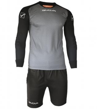 Kit Calcio Sport Manchester Portiere GIVOVA Sportivo Uomo Maniche Lunghe GIOSAL-Grigio-Nero-3XS