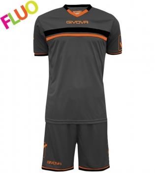 Kit Game Calcio Sport GIVOVA Abbigliamento Sportivo Uomo Calcistico GIOSAL-GrigioScuro/ArancioFluo-XL