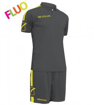 Kit Play Calcio Sport GIVOVA Abbigliamento Sportivo Uomo Calcistico GIOSAL-GrigioScuro/GialloFluo-M