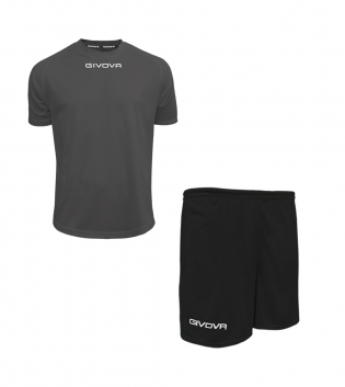 Outfit Givova Completo Pantaloncini T-Shirt Givova One Grigio Scuro Nero Uomo Donna Bambino GIOSAL