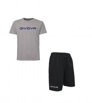 Completo Outfit Tuta GIVOVA Grigio Nero Bermuda Friend T-Shirt Spot  Uomo Donna Bambino GIOSAL-Grigio-Nero-S
