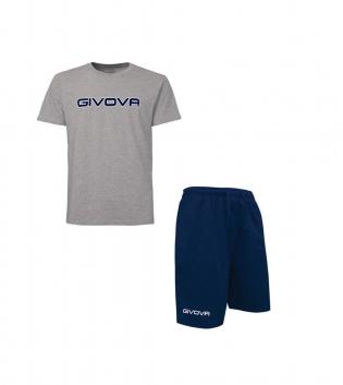 Completo Outfit Tuta GIVOVA Bermuda Friend T-Shirt Spot Grigio Blu Unisex Uomo Donna Bambino GIOSAL