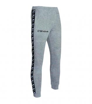 Pantalone Tuta Sport GIVOVA Terry Band Abbigliamento Sportivo Comfort GIOSAL-GrigioMelange-2XS