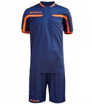 Kit Uomo Sport Calcio GIVOVA America Jeans Completino Calcetto GIOSAL-JeansScuro-ArancioFluo-M