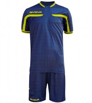 Kit Uomo Sport Calcio GIVOVA America Jeans Completino Calcetto GIOSAL-JeansScuro-GialloFluo-M