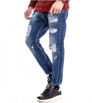 Pantalone Uomo Jeans Denim Rotture Cotone Cinque Tasche Stonewashed Casual GIOSAL