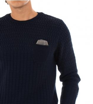 Maglione Uomo Paul Barrell Tinta Unita Blu Taschino Pochette Toppe Pullover Maniche Lunghe GIOSAL