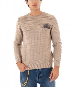 Maglione Uomo Paul Barrell Tinta Unita Beige Taschino Pochette Toppe Pullover Maniche Lunghe GIOSAL