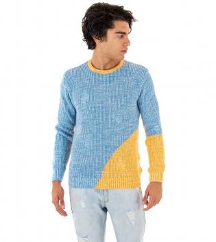 Maglione Uomo Paul Barrell Azzurro Giallo Girocollo Pullover Maniche Lunghe Casual GIOSAL
