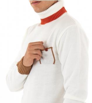 Maglioncino Uomo Collo Alto Paul Barrell Tinta Unita Bianco Riga Taschino GIOSAL