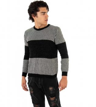 Maglioncino Uomo Girocollo Bicolore Nero Bianco Casual Maniche Lunghe Righe Pullover GIOSAL