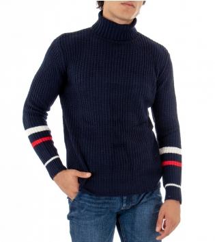 Maglioncino Uomo Collo Alto Tinta Unita Blu Riga Casual Maniche Lunghe GIOSAL