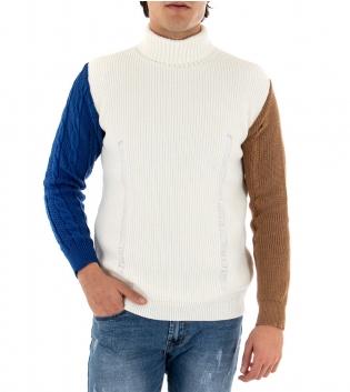 Maglioncino Uomo Collo Alto Bianco Maniche Colorate Blu Camel Intrecciato GIOSAL
