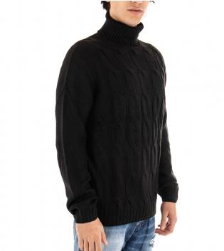 Maglione Uomo Maglia Tinta Unita Nero Trecce Collo Alto Pullover Casual GIOSAL