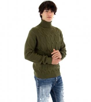 Maglione Uomo Maglia Tinta Unita Verde Trecce Collo Alto Pullover Casual GIOSAL