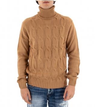 Maglione Uomo Maglia Tinta Unita Camel Trecce Collo Alto Pullover Casual GIOSAL