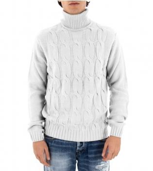 Maglione Uomo Maglia Tinta Unita Bianco Trecce Collo Alto Pullover Casual GIOSAL