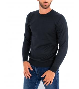 Maglioncino Uomo Maniche Lunghe Tinta Unita Blu Girocollo Maglia Casual GIOSAL