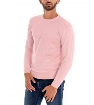 Maglioncino Uomo Maniche Lunghe Tinta Unita Rosa Girocollo Maglia Casual GIOSAL