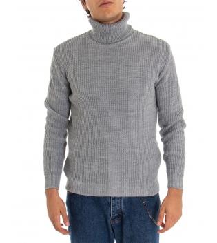 Maglione Uomo Pullover Paul Barrell Tinta Unita Grigio Collo Alto Casual GIOSAL