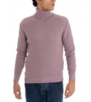 Maglione Uomo Pullover Paul Barrell Tinta Unita Glicine Collo Alto Casual GIOSAL