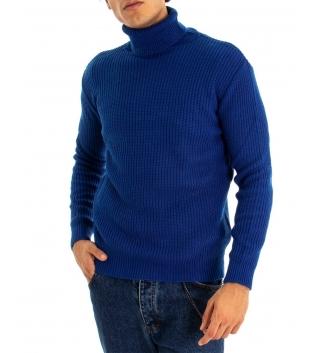Maglione Uomo Pullover Paul Barrell Tinta Unita Blu Royal Collo Alto Casual GIOSAL