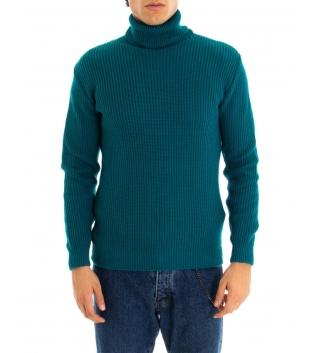 Maglione Uomo Pullover Paul Barrell Tinta Unita Petrolio Collo Alto Casual GIOSAL