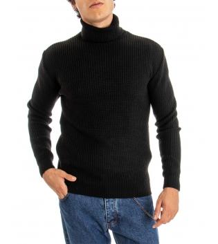 Maglione Uomo Pullover Paul Barrell Tinta Unita Nero Collo Alto Casual GIOSAL