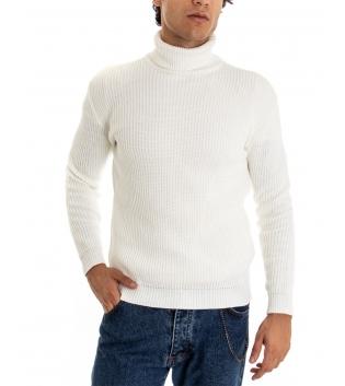 Maglione Uomo Pullover Paul Barrell Tinta Unita Bianco Collo Alto Casual GIOSAL