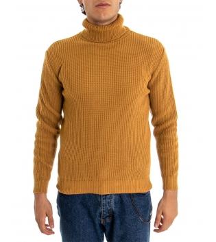 Maglione Uomo Pullover Paul Barrell Tinta Unita Senape Collo Alto Casual GIOSAL