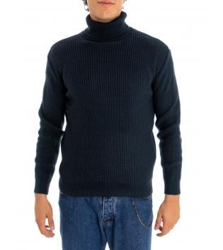 Maglione Uomo Pullover Paul Barrell Tinta Unita Blu Collo Alto Casual GIOSAL