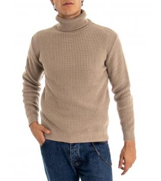 Maglione Uomo Pullover Paul Barrell Tinta Unita Beige Collo Alto Casual GIOSAL