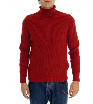 Maglione Uomo Pullover Paul Barrell Tinta Unita Rosso Collo Alto Casual GIOSAL