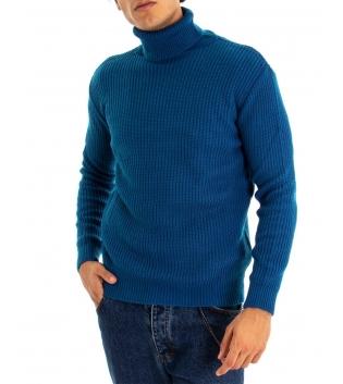 Maglione Uomo Pullover Paul Barrell Tinta Unita Azzurro Collo Alto Casual GIOSAL