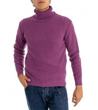 Maglione Uomo Pullover Paul Barrell Tinta Unita Magenta Collo Alto Casual GIOSAL