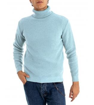 Maglione Uomo Pullover Paul Barrell Tinta Unita Celeste Collo Alto Casual GIOSAL