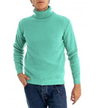 Maglione Uomo Pullover Paul Barrell Tinta Unita Verde Acqua Collo Alto Casual GIOSAL