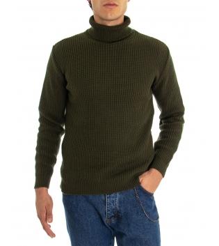 Maglione Uomo Pullover Paul Barrell Tinta Unita Verde Militare Collo Alto Casual GIOSAL