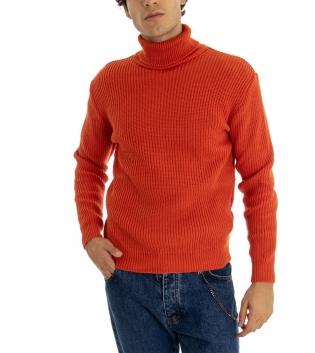 Maglione Uomo Pullover Paul Barrell Tinta Unita Ruggine Collo Alto Casual GIOSAL