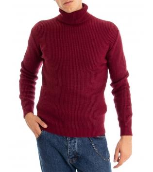 Maglione Uomo Pullover Paul Barrell Tinta Unita Bordeaux Collo Alto Casual GIOSAL