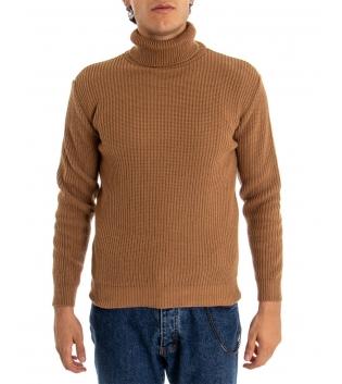 Maglione Uomo Pullover Paul Barrell Tinta Unita Camel Collo Alto Casual GIOSAL