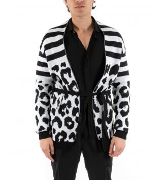 Cardigan uomo Bicolore Bianco Nero Leopardato Rigato Cintura GIOSAL