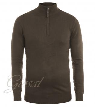 Maglioncino Uomo Golfino Slim Tinta Unita Marrone Colletto Zip Cerniera GIOSAL M1537A-Marrone-XL
